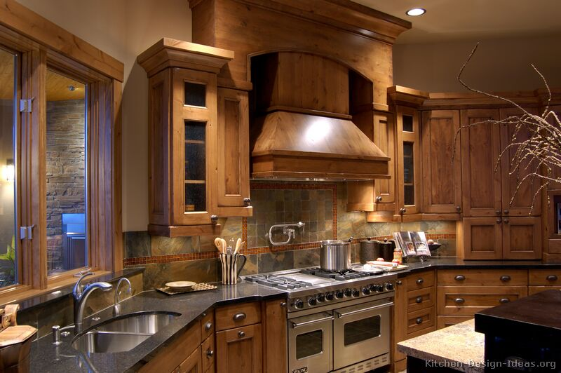 Rustic Kitchen Design With Pro Viking Range Large Wood Hood And Simplex Demo