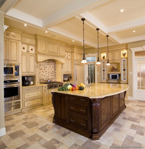 Luxury Kitchen Design With High Coffered Ceilings Antique White Fascinating Antique Kitchen Design